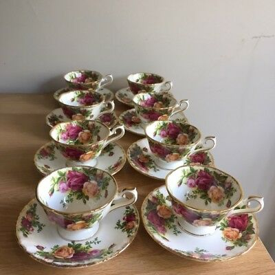 8 Royal Albert Old Country Roses Coffee Cups And Saucers - Unusual Shape