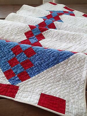 Long Antique c1880 Red White Blue Patriotic Americana Table Quilt Runner 73""