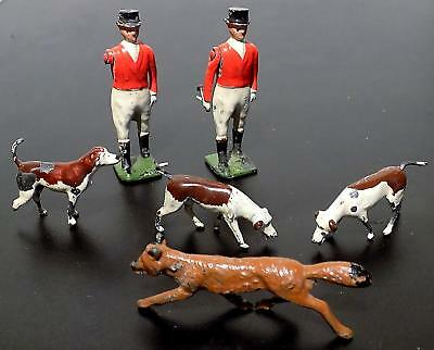 Vintage Painted Lead Britains Hunting Series Male Figures + Hounds & Fox Some AF