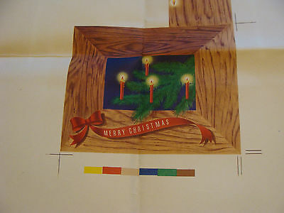 Vintage Printing Sample Poster: BOUGH W/ CANDLES CHRISTMAS CARD,30x25, #1712 (1)