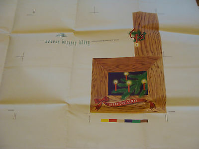 Vintage Printing Sample Poster: BOUGH W/ CANDLES CHRISTMAS CARD,27x22, #1712 (2)