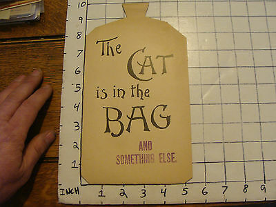 Original Vintage paper: Birdsey, Somers & co. Corset maker THE CAT IS IN THE BAG