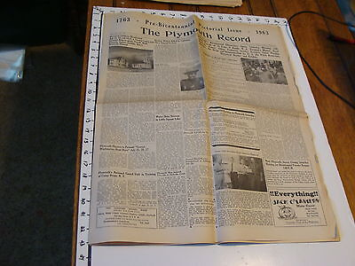 vintage Newspaper: THE PLYMOUTH RECORD PRE-BICENTENNIAL PICTORAL ISSUE  7/11/63