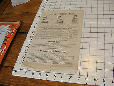 Original Vintage paper: EARLY---directions for using the KING IRON late 1800's