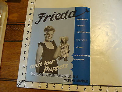 Vintage MARIONETTE Publication: FRIEDA and Her PUPPETS full size brochure