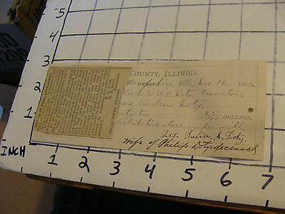 1895 papers: KANE COUNTY ILLINOIS, DISTRIBUTION OF ESTATE OF ANDREW DOTY receipt