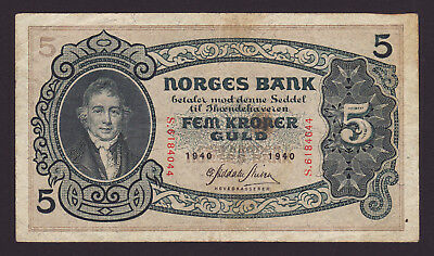 NORWAY  -  5 kroner,1940  -  P 7c  -  VF - aVF