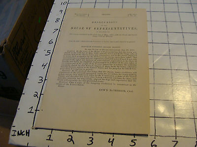 1868 paper: U. S. House of Representatives resolution GREAT & LITTLE OSAGE TRIBE