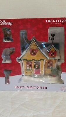 NEW Dept 56 Disney Village Mickeys House Holiday Gift Set !!!