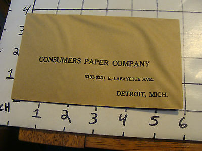 Vintage paper: Envelope from CONSUMERS PAPER COMPANY, Detroit, MI