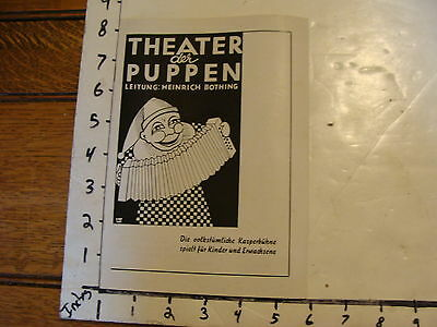 Vintage MARIONETTE Publication: THEATER der PUPPEN
