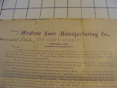 Vintage Original Paper: 1880's WESTERN LACE MANUFACTURING CO. letter