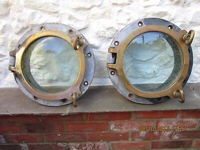 Pair Of Vintage Large Brass Ships Porthole Woods Of Rainhill Navy Antique