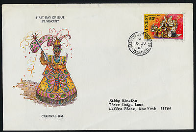 St Vincent 655 on FDC - Butterfly Float, Carnival