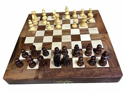 Wooden Chess Hand Carved Set Vintage Pieces Board Wood Chess Board + Storage