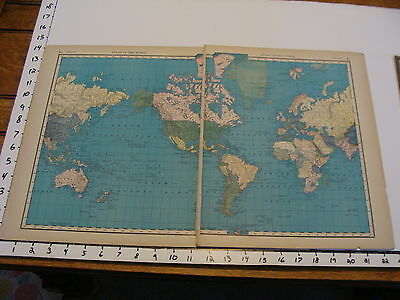 """Vintage 22 x 14""""  MAP 1895--THE WORLD"""