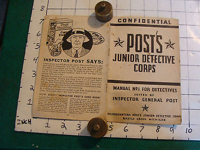 1933 Post's Junior Detective Corps form x-3164, 16 page booklet CONFIDENTIAL