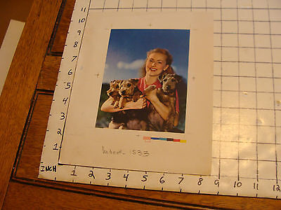 Vintage Printing Sample Poster: WOMAN & 3 AIREDALE OR WELSH TERRIER PUP 8.5x10.5