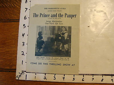 Vintage MARIONETTE Paper: the prince and the pauper--marionette guild