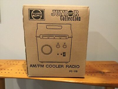 Pepsi Jr. Collection PC-118 AM/FM Cooler Radio, New, S/S, 1995,  Box imperfect.