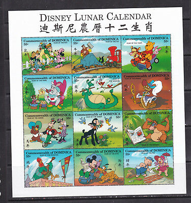 Dominica  Disney cartoons Lunar calendar animation klb MNH