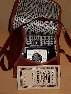 CORONET Camera 4x4 exp Square Front Bakelite Body Original Case + Booklet