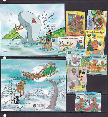 Grenada Grenadines 1986 disney cartoons christmas whales animation set+2s/s MNH