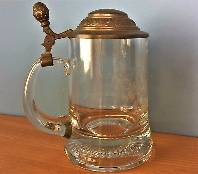 Vintage German Etched Cut Glass Tankard / Stein With Pewter Lid