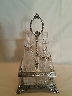 Rare Elkington & Co. Silver Plated Condiment Cruet Set 1865