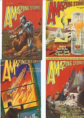 4 Postcards  Science Fiction Amazing Story (Fronts Of American/comic/ Magazines)