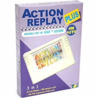 Sega Saturn Action Replay Plus Cartridge w/ Pseudo Saturn Play Backups & Imports