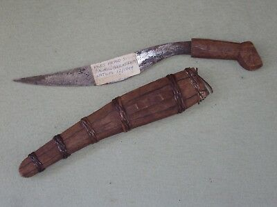 VINTAGE WW2 BOLO KNIFE WITH WOOD SHEATH Carved BRING BACK S Pacific Philippine