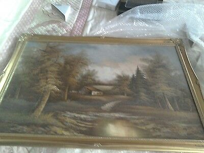 very large vintage oil on canvas painting in gilt frame, signed