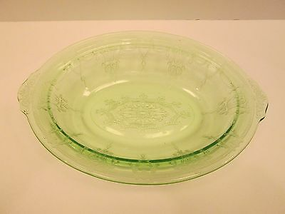 """1x Anchor Hocking Depression Green Cameo Ballerina 10"""" x 7"""" Oval Serving BOWL"""