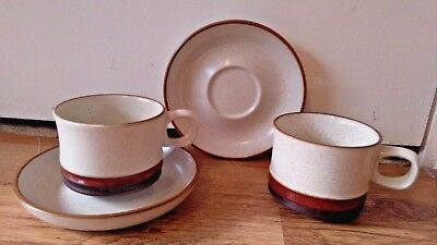 Denby Potters Wheel Cups And Saucers X 2