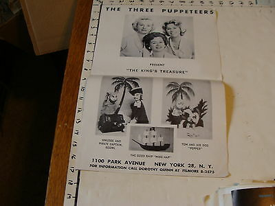 Vintage MARIONETTE Poster brochure: THE THREE PUPPETEERS 1100 PARK ave NY NY