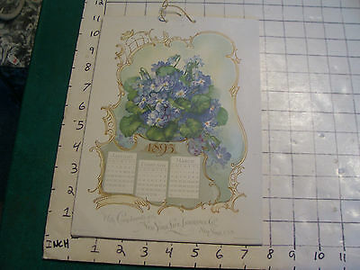vintage Calendar: 1895 New York Life Insurance co. 4 page flowers COMPLETE