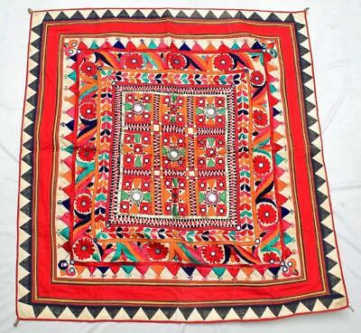 "41"" X 40"" Vintage Heavy Embroidery Rabari Ethnic Door Wall Tribal Hanging"