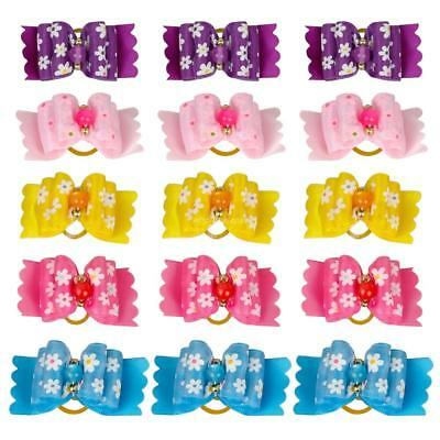 10Pcs Puppy Cat Hair Bows Rubber Band Pet Small Dogs Beads Grooming Accessories
