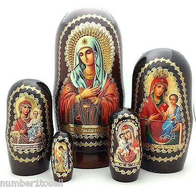 Icon Nesting Doll Hand made 5 pieces RELIGION Set HOLLY MOTHER OF GOD