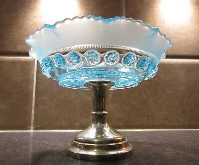 Bagley Art Deco Turquoise Blue Glass Tazza On Plated Stand