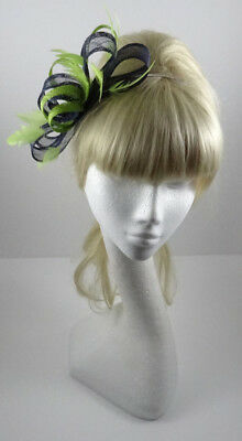 Navy blue/lime green fascinator on headband for wedding/mother of the bride