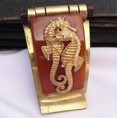 Vintage BAKELITE Seahorses By JEAN PAINLEVE 1930s FRENCH Hippocampe Brooch Pin