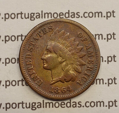 """USA - 1864 """"L"""" INDIAN HEAD CENT  BRONZE KM#90a  1864 """"L"""" variety has the desig"""