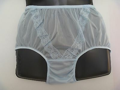 Vintage Style Silky Baby Blue Sheer Nylon Lace Trim  Panties-Knickers Med To Lrg