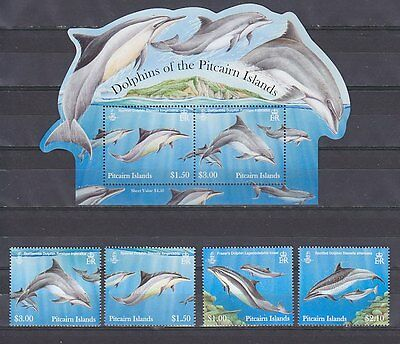 Pitcairn 2012 dolphins marine life set+s/s MNH