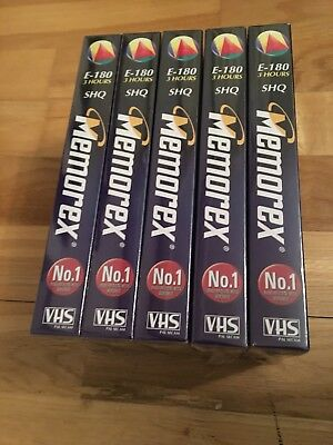 5 X Memorex Vhs Blank Video Tapes Cassettes E-180(3 Hours) New/sealed