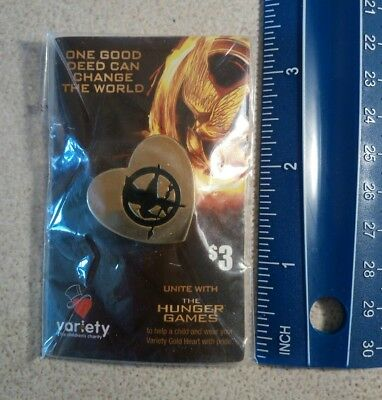 Variety Club Heart Pin - Hunger Games - Gold Coloured - Movie Promotion