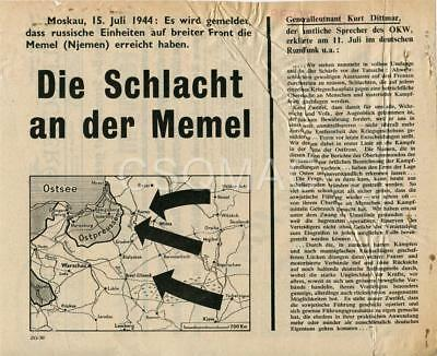 SHAEF leaflet to German troops ~ Memel ~ Z.G. 30 ~ Restricted ~ Rare