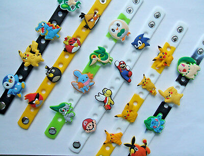 SHOE CHARM BRACELETS SILICONE (21cm) - inspired by POKEMON - MARIO - ANGRY BIRDS